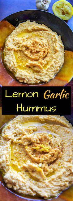 Lemon Garlic Hummus is a quick and easy, vegan and gluten-free snack dip for your favorite crackers or veggies!