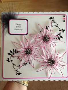 Happy using 'stamps by chloe' flower stamps 50th Birthday Cards, Birthday Cards For Women, Happy Birthday, Chloes Creative Cards, Stamps By Chloe, Wedding Anniversary Cards, 3d Cards, Heartfelt Creations, Pretty Cards