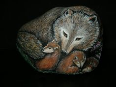 Hand Painted Rock Art  Mother Wolf and Cubs by amylenore on Etsy, $45.00