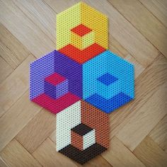 Illusion geometric perler pixel by Thea IMYBY | HAMMA WORKS ...