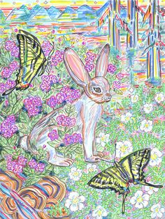 Art Print Rabbit Butterflies Nature Sage California by kararane (Art & Collectibles, Prints, rabbit, forest, mushrooms, butterflies, sage, california, wildlife, psychedelic, swallowtail, jackrabbit, wall art, kara rane, easter)