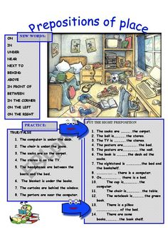 PREPOSITIONS OF PLACE:Look at the image and put the right preposition, true or false. Esl Worksheets For Beginners, English Worksheets For Kids, English Activities, English Grammar For Kids, English Writing, English Prepositions, English Vocabulary, Prepositions Worksheets, English Teaching Materials