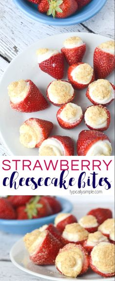 These no bake strawberry cheesecake bites are SO easy to make! A delicious sweet treat that makes a great dessert for parties, brunch, or as an afternoon snack! snacks for dinner No Bake Strawberry Cheesecake Bites - Typically Simple Dessert Party, Bon Dessert, Snacks Für Party, Party Desserts, Appetizers For Party, Fruit Appetizers, Dessert For Bbq, Healthy Birthday Desserts, Dessert Ideas For Party