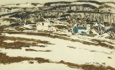 'Two houses with hill in gray wash', 1916 - David Brown Milne (1882–1953)