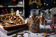 For a simple Christmas breakfast, try this festive homemade granola recipe filed with colourful dried fruit. See more Christmas recipes at Tesco Real Food. Edible Christmas Gifts, Edible Gifts, Christmas Baking, Christmas Recipes, Christmas Snacks, Xmas Food, Homemade Christmas, Vegan Lunch Recipes, Brunch Recipes
