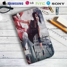 Mirror's Edge Catalyst Faith Connors Leather Wallet iPhone 4/4S 5S/C 6/6S Plus 7| Samsung Galaxy S4 S5 S6 S7 NOTE 3 4 5| LG G2 G3 G4| MOTOROLA MOTO X X2 NEXUS 6| SONY Z3 Z4 MINI| HTC ONE X M7 M8 M9 CASE
