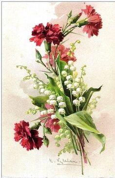 "Мастерская декупажа ""СУНДУК"" - ручная работа | VK Catherine Klein, Floral Illustrations, Botanical Illustration, Flower Images, Flower Art, Black And White Flower Tattoo, Pintura Country, Floral Artwork, Vintage Diy"