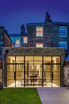 This project is a extension and refurbishment of a South West London house to create a modern family home for two busy creative professionals Brick Extension, House Extension Plans, House Extension Design, Glass Extension, Extension Designs, House Design, Crittall Extension, London House, London Townhouse