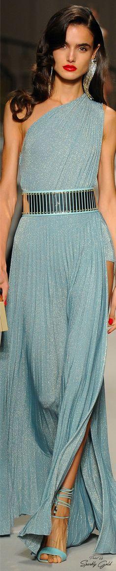 @roressclothes closet ideas #women fashion  blue maxi dress Elisabetta Franchi Spring 2017