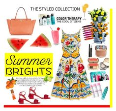 """Bright summer"" by andrea-tatis on Polyvore featuring moda, Evian, Bumble and bumble, Aquazzura, Dolce&Gabbana, Valentino, Urban Decay, Sephora Collection y Disney"