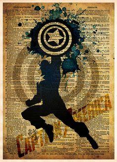 Avengers - Captain America -  Vintage Silhouette print  - Retro Super Hero Art - Dictionary print ar Comic Books Art, Comic Art, Book Art, Marvel Dc Comics, Marvel Heroes, Bucky Barnes, Poster Minimalista, Capitan America Chris Evans, The Avengers