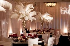 white feather wedding topiary centerpieces for old hollywood themes