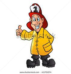 smiling fireman cartoon vector illustration