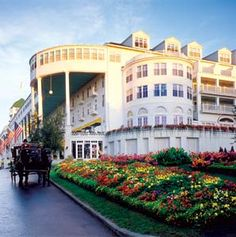 Grand Hotel, Mackinac Island, Michigan. This is the place where the movie Somewhere in Time was filmed. *I miss Michigan*