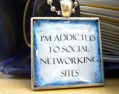 Geek Jewelry   Art Pendant Necklace   Girlfriend Gift   Addicted to Social Networking   Geek Girls Pendant   Gift Under 10