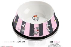 Ritzenhoff cat bowl with cute cartoon cat characters by Marsden  Objects designed for the RITZENHOFF Design Collection by artist Ian David Marsden   http://www.ritzenhoff.de/catalogsearch/result/?q=Marsden&x=-1353&y=-105  Please visit my portfolio. http://marsdenillustration.com/portfolio/ritzenhoff/  #illustrator #artist #freelance #independent #experienced #illustration #portfolio #Marsden#illustration #logo #design #ritzenhoff #porcelain #china #glassware #giftideas #cute #funny