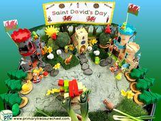 Wales - Saint David's Day - Dydd Santes Dwynwen Themed Small World Multi-sensory - Sand Tray Ideas and Activities Multi Sensory, Sensory Play, Welsh Gifts, Sand Tray, Saint David's Day, Tuff Spot, Tuff Tray, Eyfs, Role Play