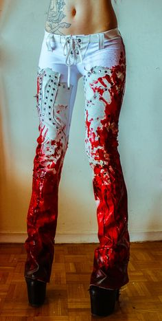 Image of TOXIC VISION Bloodbath leather pants Aww that's so cool... can't wait to wear that during thee Zombie Apocalypse