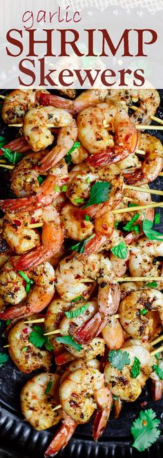 Mediterranean Garlic Shrimp Skewers | The Mediterranean Dish. Shrimp flavored the Mediterranean way with oregano, sweet paprika, garlic paste. Marinated in a simple olive oil and lemon juice. Use a grill, griddle or skillet. Cooks in 5-7 minutes. It's the perfect party appetizer or turn it into dinner! See the recipe on TheMediterraneanDish.com