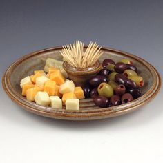 Olive Tray  Serving Platter with Toothpick Holder  by nealpottery