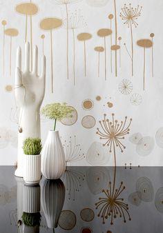 Fairy Flower Gold/White Wallpaper from ferm LIVING. #wallpaper #design #pattern