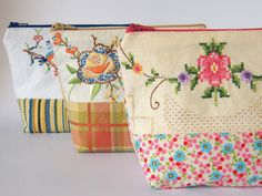 heirloom Vintage Embroidery Zip Pouch