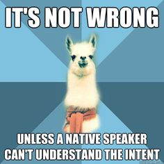 its not wrong unless a native speaker cant understand the  - Linguist Llama Linguistics Major, Grammar Memes, Speech Language Pathology, Speech And Language, Literary Terms, Nerd Jokes, Graduate Program, Speech Therapy, Programming