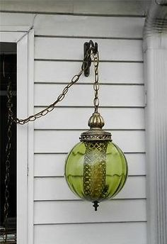 Vintage Green Glass Swag Light Hanging Lamp