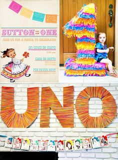 Colorful First Fiesta Celebration / / love the uno sign, i could do the word party instead