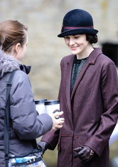 #DowntonAbbey Series 5 - off camera... Michelle enjoys a cup of coffee