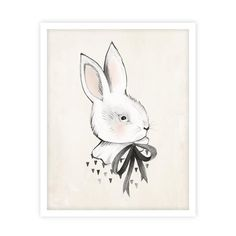 Whimsical bunny art print by Kelli Murray for Rylee & Cru. Printed on matte white paper - acid free, 110 lb cover, 298 GSM Sealed in a cello sleeve with pro