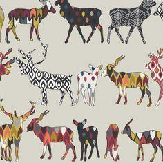 oatmeal spice deer fabric by scrummy on Spoonflower - custom fabric
