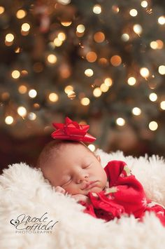 newborn girl photography - holiday Christmas tree with lights in background - baby session