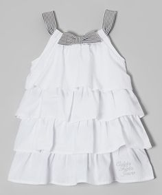 Calvin Klein Jeans White & Black Stripe Tiered Dress