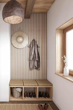 An ultra stylish mudroom with an organic, eastern and boho vibe. It features rattan cushion on a light wood shoe storage Modern Japanese Interior, Modern Interior Design, Minimalist Interior, Minimalist Home, Wood Shoe Storage, Inside Home, House Inside, Entry Way Design, Studio Interior