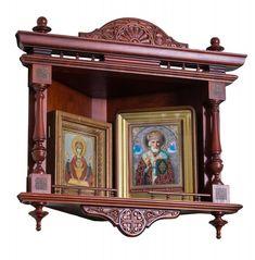 Полка для иконы, заказная, угловая 2 Wooden Door Design, Wooden Doors, Bedroom Furniture Design, Wood Furniture, Catholic Altar, Antique Bench, Corner Cupboard, Home Altar, Puja Room
