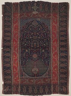 Woven Wall Hanging, ca. 1820–30. India, Kashmir. Islamic. The Metropolitan Museum of Art, New York. Museum Accession (x.103.4) | Kashmir was famous for its beautiful woven shawls made of the fine goat's wool called pashmina, woven in the distinctive double-interlocking tapestry weave style. #tapestrytuesday