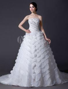 Ivory A-line Strapless Sequin Chapel Train Organza Wedding Dress For Bride
