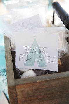Smore for later favors - camping birthday party
