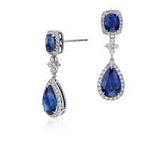 Blue Nile Sapphire and Diamond Drop Earrings in 18k White Gold #wedding #somethingblue