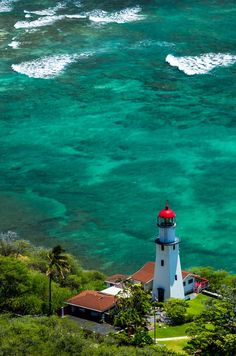 """Diamond Head Lighthouse, Oahu, Hawaii Remember how those smooth talking young Officers from Pearl Harbor would invite you to see the """"submarines race at Diamond Head under the stars."""" Ha ha."""
