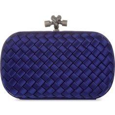 BOTTEGA VENETA Intreccio Impero satin knot clutch ($1,570) ❤ liked on Polyvore featuring bags, handbags, clutches, woven handbags, blue purse, bottega veneta handbags, bottega veneta and blue handbags