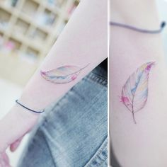 Beautiful+watercolor+leaf+tattoo+on+wrist+by+Banul