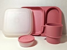 Vintage Tupperware Pink Lunch Tray with Cup and Container, Tupperware Container, Tupperware Cups, Pink Tupperware, Tupperware Lids and Tray