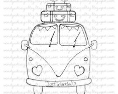 Just Married on Etsy, £ - Drawings - Hand Embroidery Patterns, Embroidery Art, Embroidery Stitches, Embroidery Designs, Coloring Books, Coloring Pages, Digital Stamps, Just Married, Cute Drawings