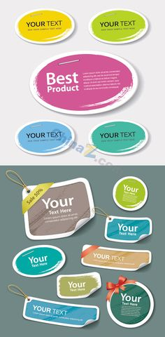 Colorful label tag vector material