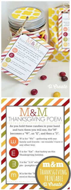 Thanksgiving Gift Ideas for Teachers with Printables M&M Thanksgiving Poem with M&M mason jar gift. Creative Thanksgiving gift ideas for teachers with Free Printables. Thanksgiving Cookies, Thanksgiving Poems, Thanksgiving Parties, Thanksgiving Activities, Thanksgiving Decorations, Thanksgiving Hostess Gifts, Thanksgiving Table, Free Thanksgiving Printables, Thanksgiving Projects