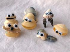 Seashell Critters -- fun thing to do with the seashells kids collect at the beach over the summer. : )