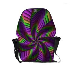 Neon Colors Flash Crazy Colorful Fractal Pattern Small Messenger Bag - accessories accessory gift idea stylish unique custom