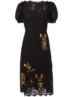 Dolce & Gabbana Bengal cat patch lace dress